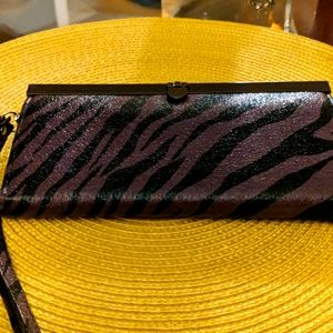 Purple/ black wallet with strap, NWT 💜👍